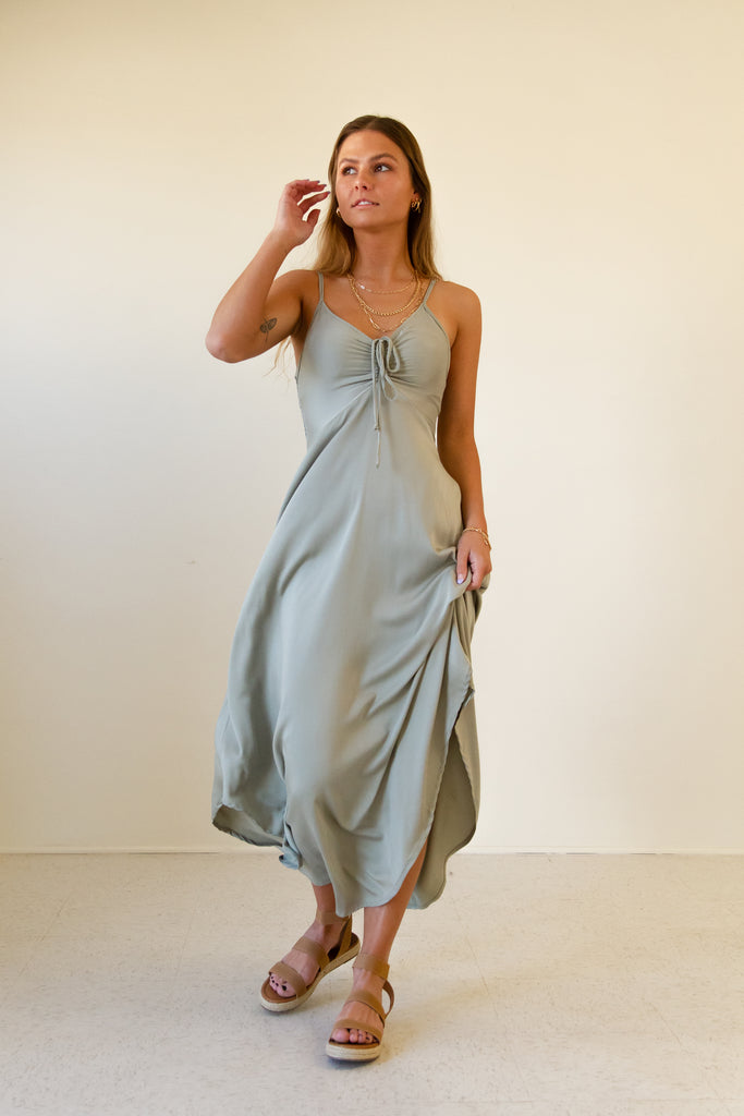 sage cami straps ruched drawstring mid length dress