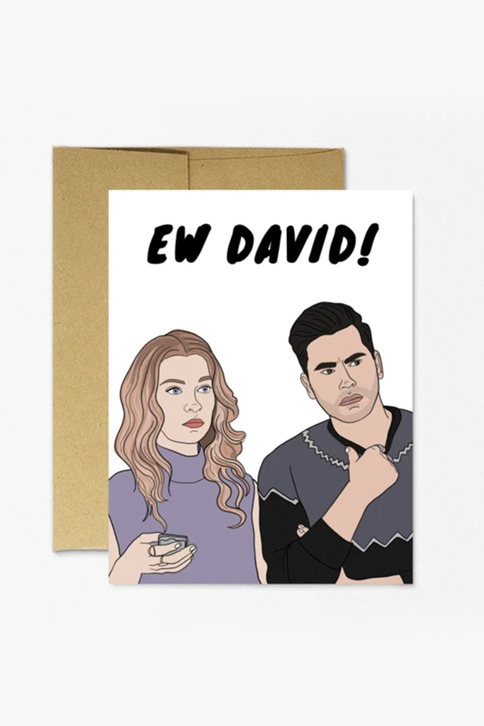 Ew David Greeting Card by Party Mountain Paper Co.