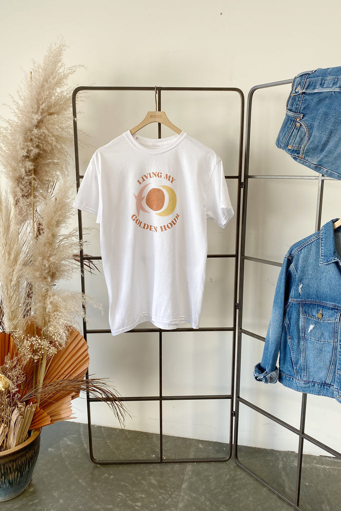 White Living My Golden Hour Graphic Tee