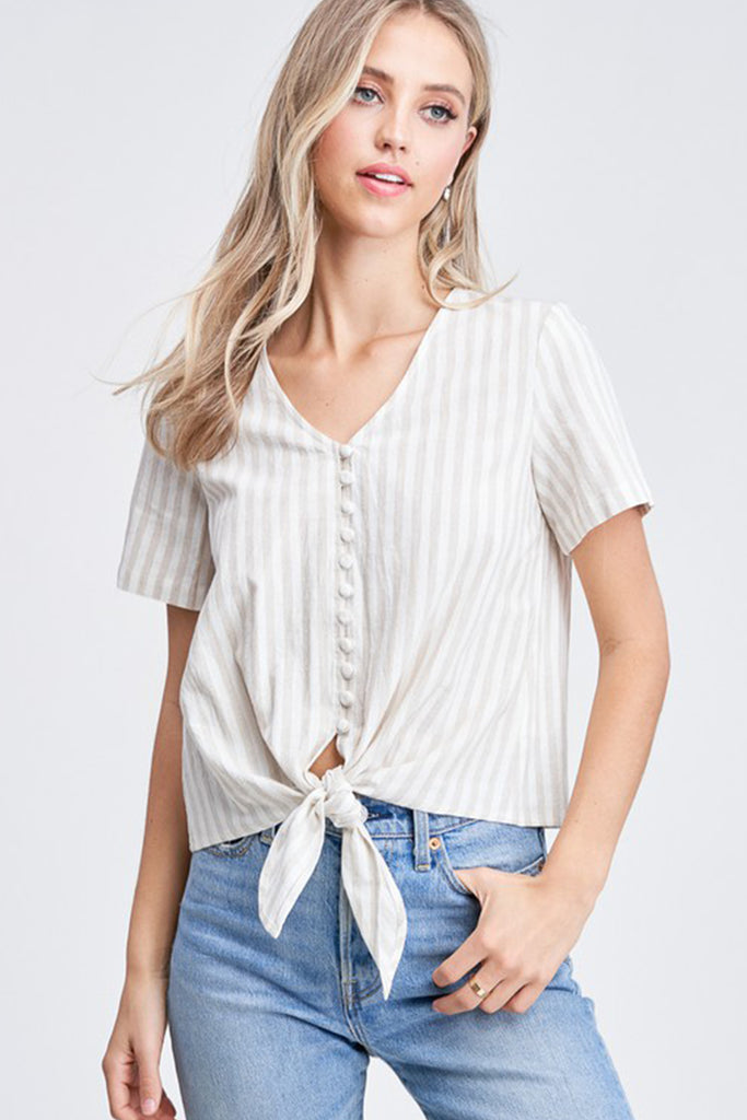 natural and white striped top