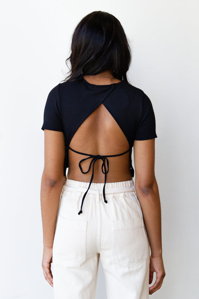black cropped open back shirt