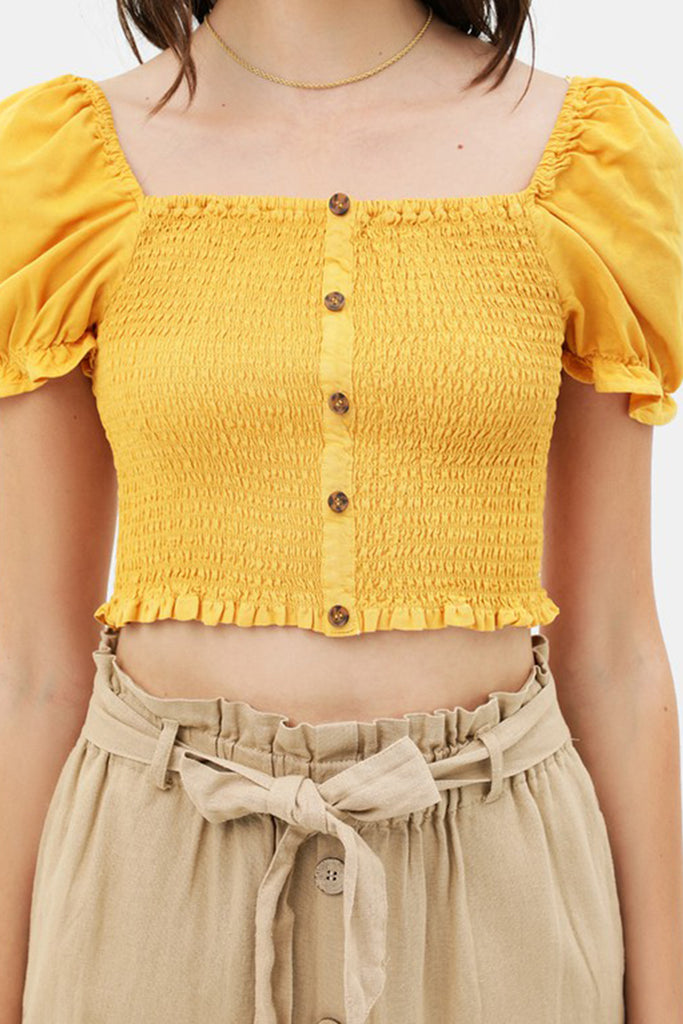 Mustard Smocked Crop Top