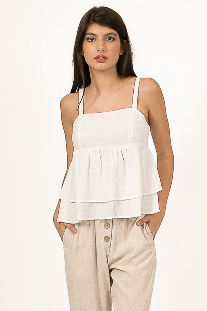 White Ruffle Tankl Top