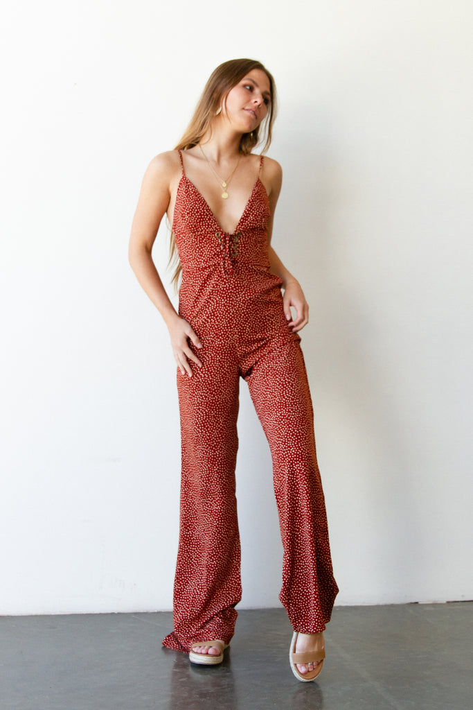 red polka dot jumpsuit