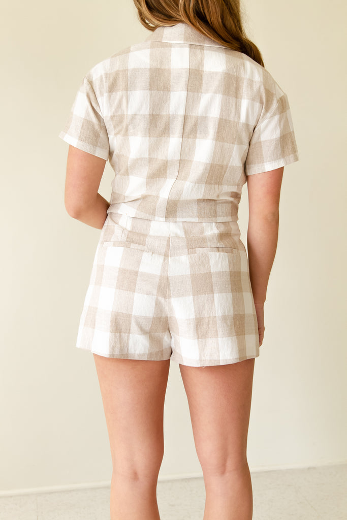 Keep Daydreaming Gingham Shorts by For Good