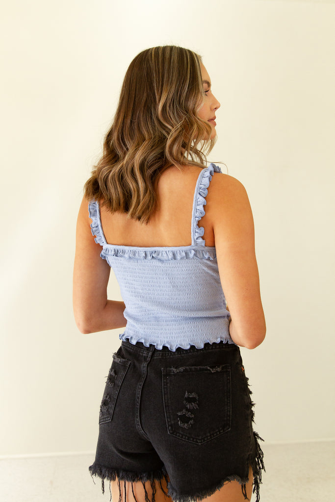 blue smocked ruched front cami top with ruffle detail