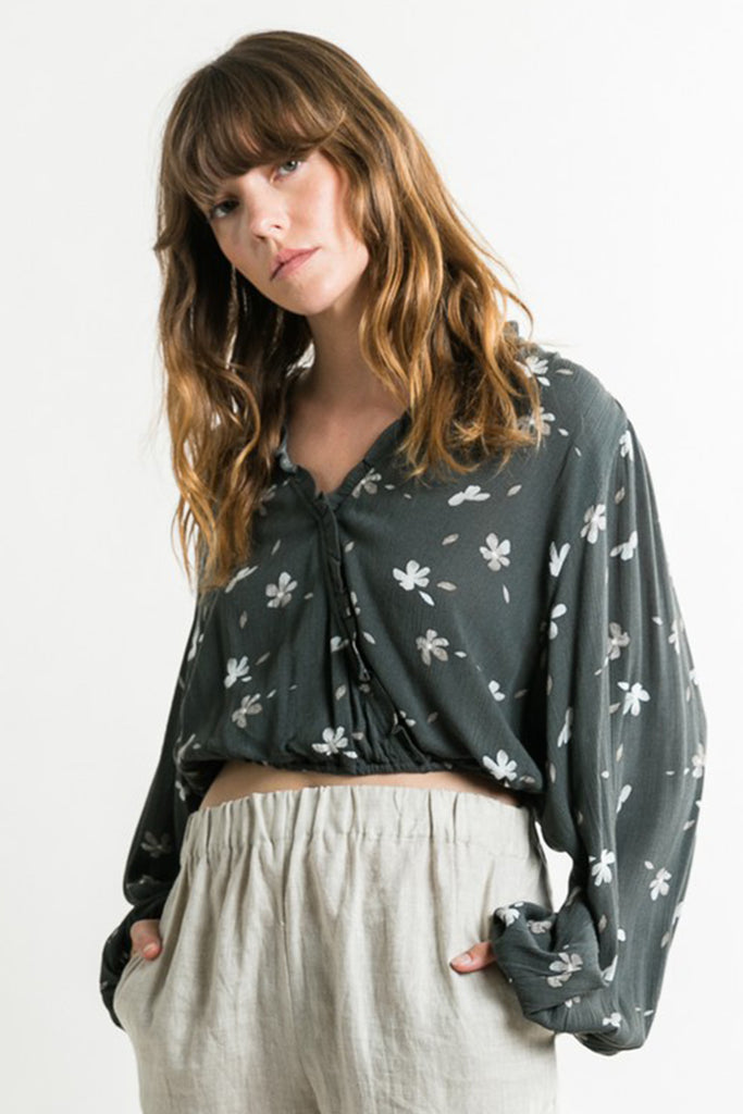 washed black floral top