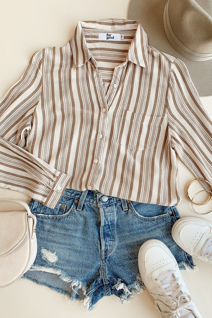 white/natural striped top