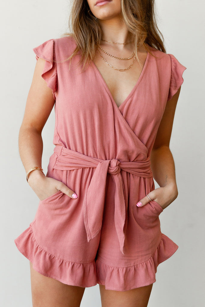 rose sleeveless romper with pockets