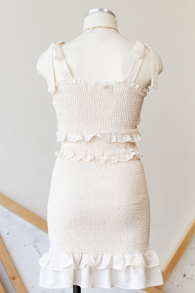 Cream Smocked Dress