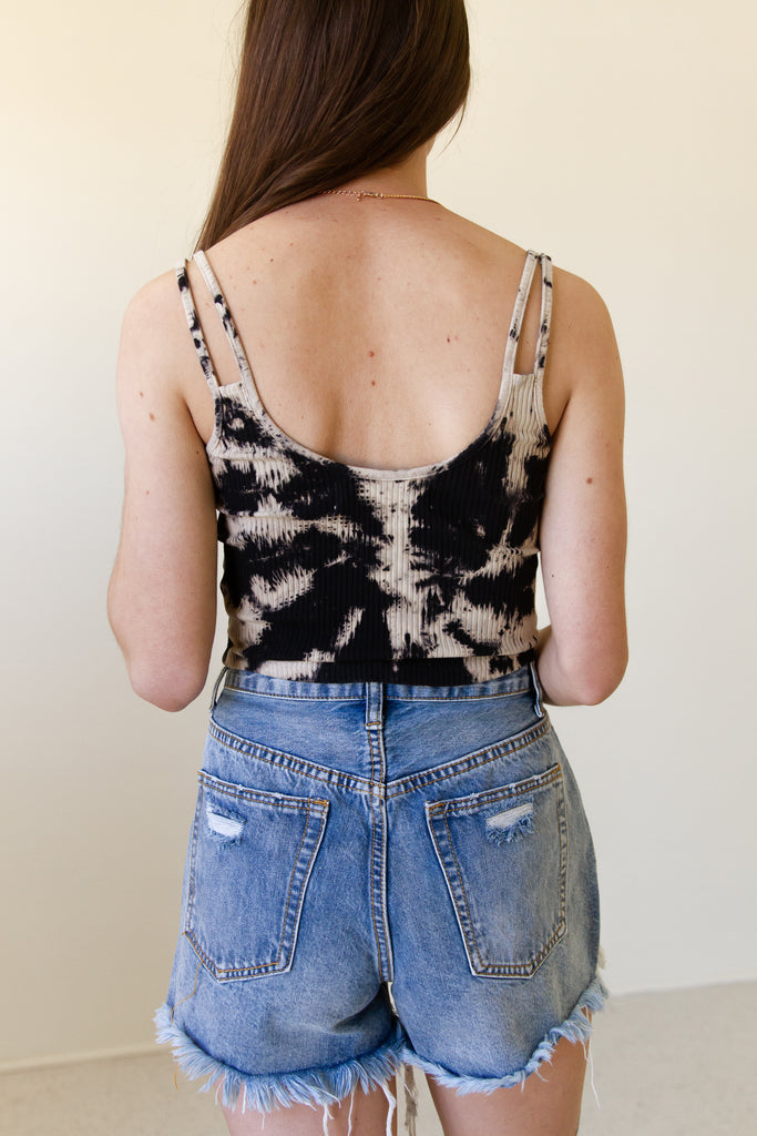 cream/black tie dye ribbed double cami strap tank