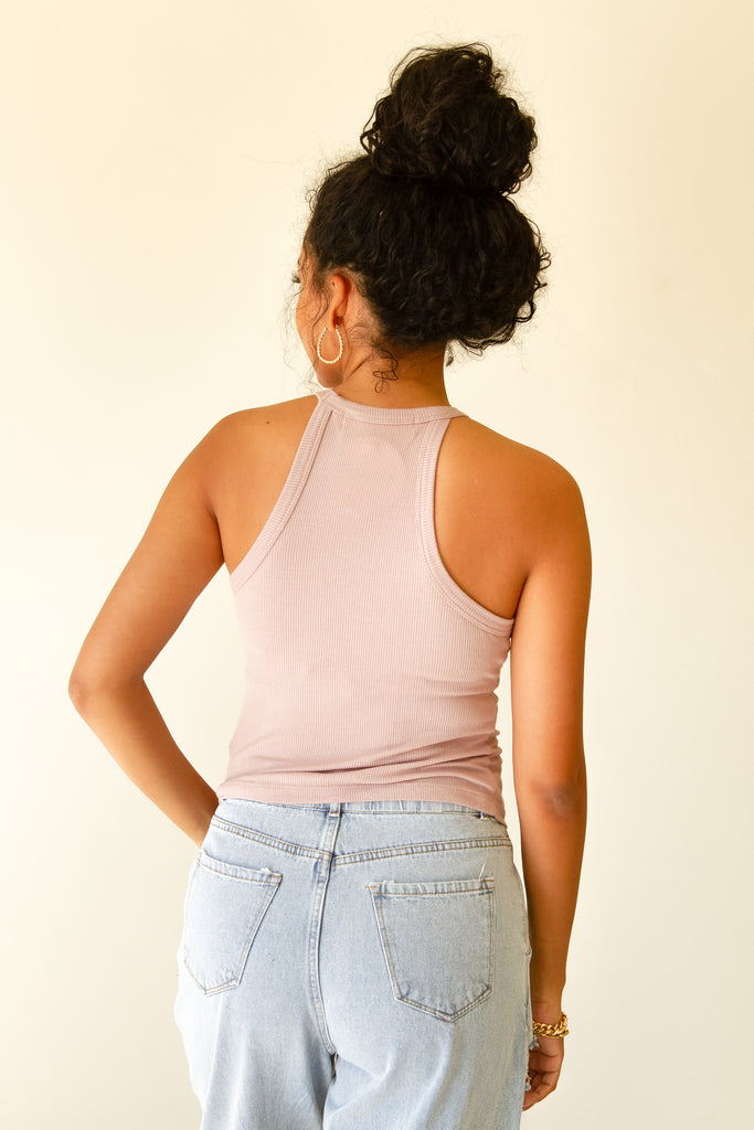mauve ribbed cami top