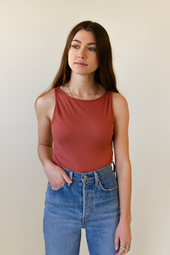rust ribbed sleeveless top