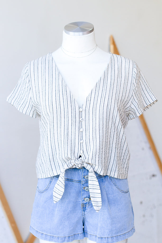 Natural/Black Striped Crop Top