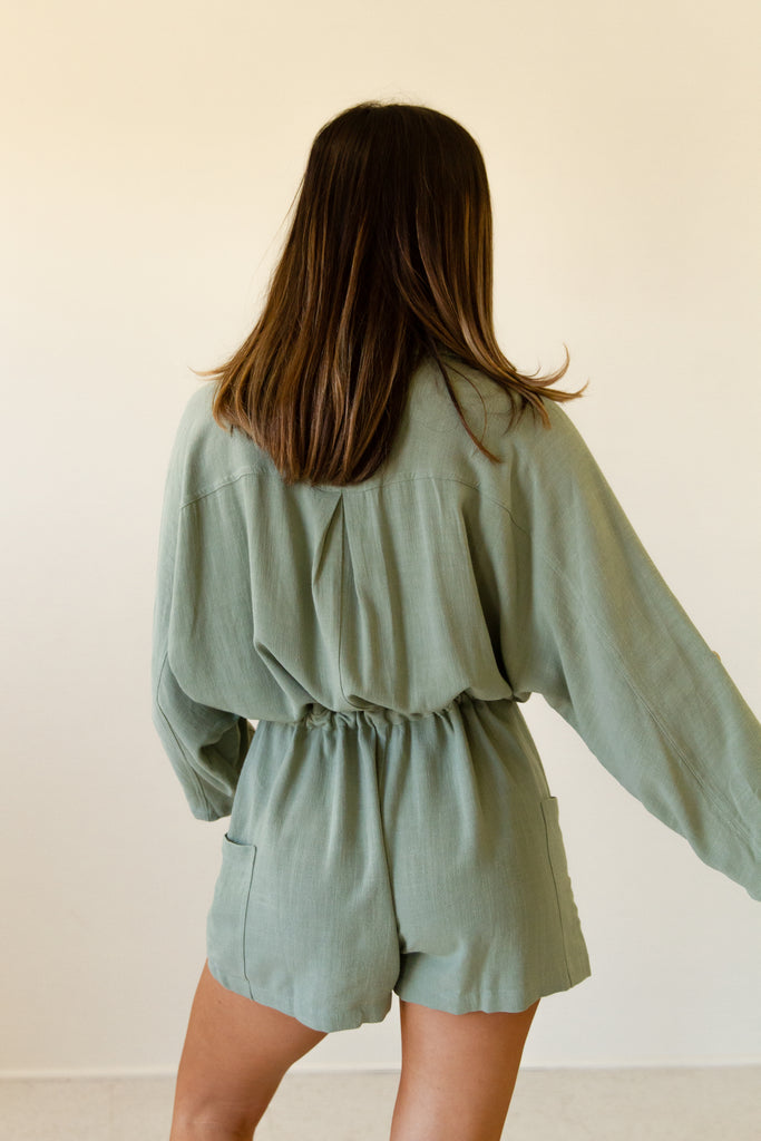 sage collared button front long sleeve romper.