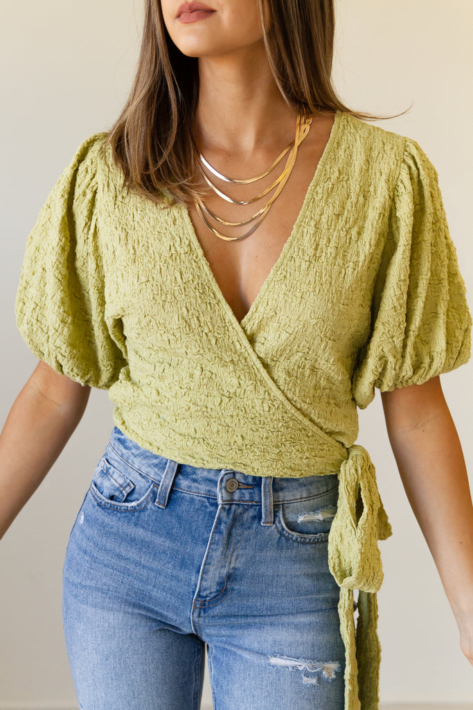 lime crinkled wrap top