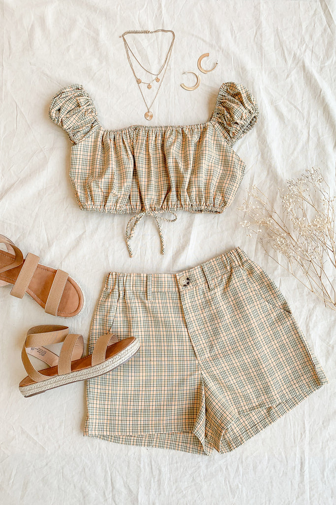 olive/mustard plaid crop top