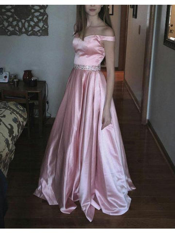 Pearl Pink A-line Off the Shoulder Sweetheart with Pockets Long Senior Prom Dresses uk PM769