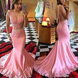 Pink Lace Mermaid Long See Through Sleeveless Beads V-Neck Cheap Party Prom Dress,17031
