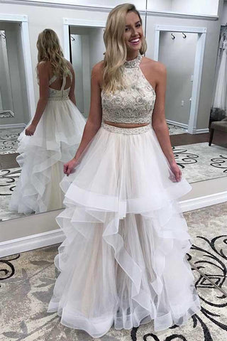A line Ivory Beads Halter Ruffles Prom Dresses, Long Open Back Party Dresses PW693
