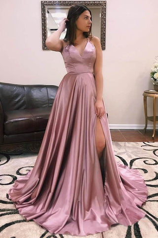 A Line V Neck Satin Lace up Dusty Rose High Slit Prom Dresses Long Evening Dresses PW699