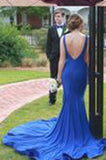 Simple Bateau Neck Sleeveless Sweep Train Royal Blue / Red Prom Dress Backless