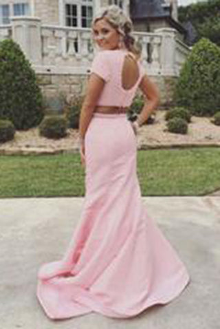 New Arrival 2 Piece Sweep Train Pearl Pink Prom Dress with Pearl Open Back PM600