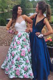 Hot Selling V-neck Floor-Length Royal Blue Prom Dress with Beading PM601