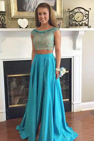 Stunning Two Piece Bateau Cap Sleeves Sweep Train Taffeta Prom Dress with Beading PM603