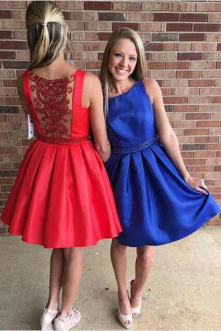 Modern Bateau Sleeveless Short Red/Royal Blue Prom Dress with Beading PM595