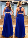 Stunning Two Piece Jewel Sleeveless Floor-Length Royal Blue Prom Dress with Beading PM598
