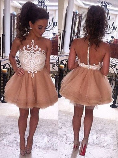 Modern Illusion Neck Sleeveless Short Champagne Prom Dresses PM588