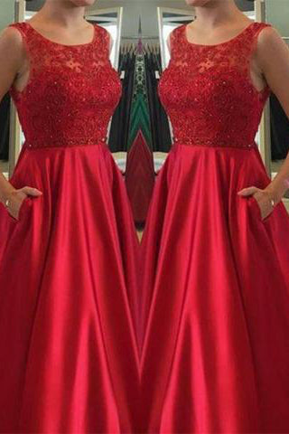 Elegant Jewel Sleeveless Floor-Length Red Beads Open Back Pockets Prom Dresses uk PM589