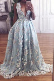 Hot Selling Deep V-neck Light Sky Blue Prom Dress with Flowers PM547