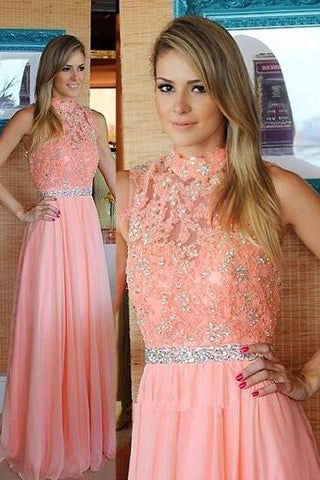 Nectarean High Neck Floor-Length Sleeveless Peach Prom Dress with Beading Lace Top PM585