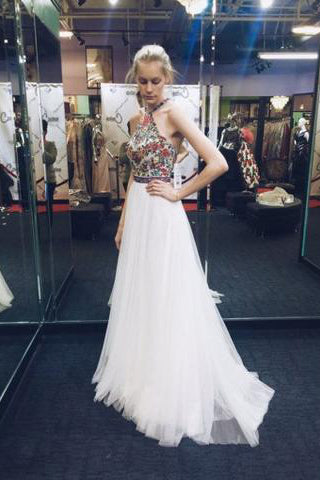Nectarean Halter Sleeveless Sweep Train White Prom Dress with Printed Flowers PM586