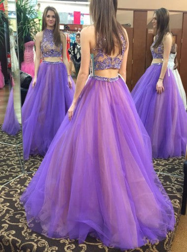 Stylish Two Piece High Neck Floor-Length Prom Dress with Beading Open Back PM587