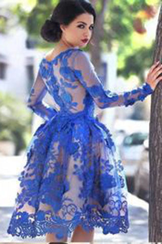 Unique Ball Gown Appliques Knee-Length Long Sleeve A-Line Tulle Royal Blue Sweet 16 Gown PH119