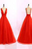 Red V-neck Backless Long Tulle Prom Dresses Evening Dresses PM494