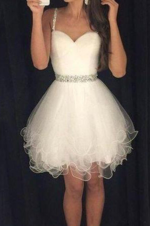 Amazing Tulle Spaghetti Straps Homecoming Dresses PM445