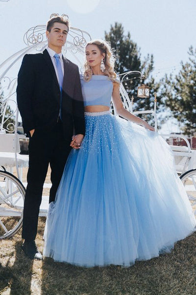 Unique A Line Off the Shoulder Two Piece Blue Tulle Prom Dresses with Beading PW407