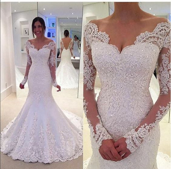 Long Sleeves Mermaid Lace Off The Shoulder Wedding Dress BA37
