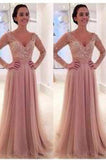 Long Sleeves V-neck Tulle Prom Dress with Detachable Train dusty pink sexy prom dress PD210187