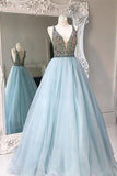 Unique V-neck tulle sequin beading long prom gown,evening dresses uk PH101