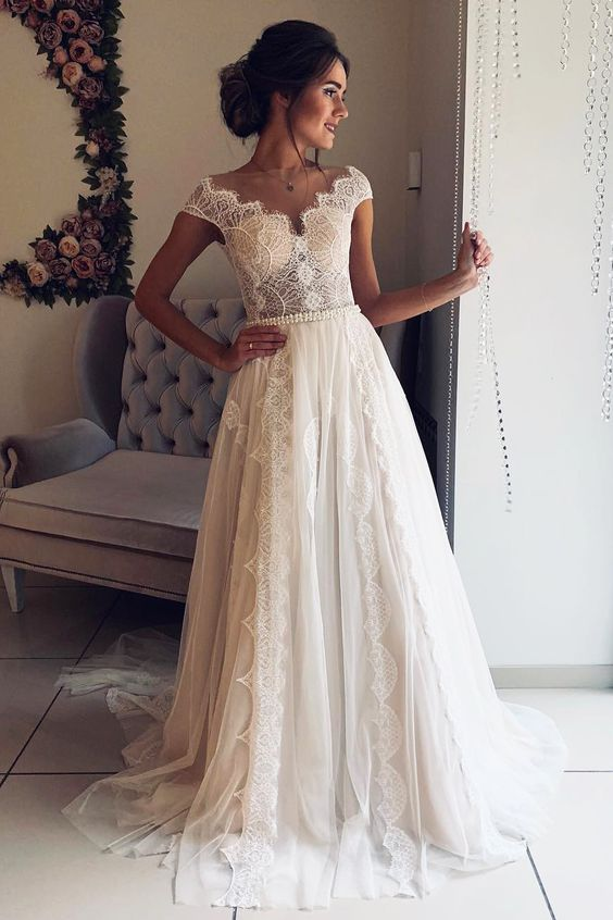 A Line Cap Sleeve Lace V Neck Chiffon Ivory Beads Wedding Dresses, Wedding Gowns W1117