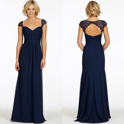 Sexy A-Line Sweetheart Cap Sleeve Lace Open Back Navy Blue Long Bridesmaid Dresses PH80