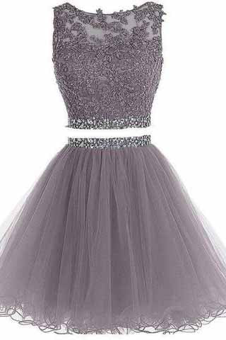 Two Piece Open Back Scoop Beads Sleeveless Grey Tulle A-Line Homecoming Dress I1012