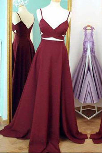 Two Piece Straps Long Prom Dress Evening Dress,Spaghetti Straps Wine Red Prom Dresses uk PH159