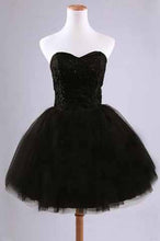 Black Junior Tulle Cheap Sweetheart Strapless Homecoming Dress,Dresses for Homecoming PM951