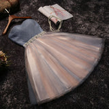 Cute grey/black Strapless Short Sleeveless Prom Dress,Homecoming Dress,Bridesmaid Dress PM958